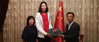 中国驻土大使馆为朱婷接风