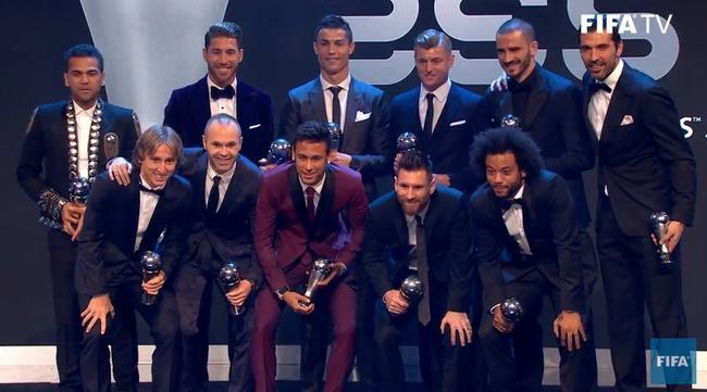 FIFA年度最佳阵容:皇马5席巴萨3席 尤文后防3人