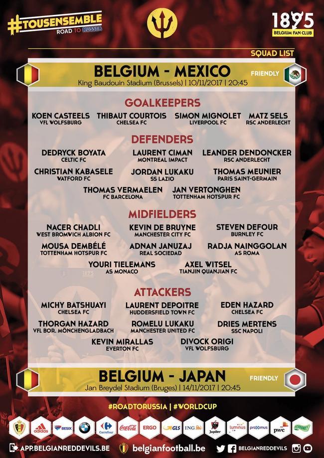 比利时公布名单:切尔西曼城核心 罗马铁腰回归