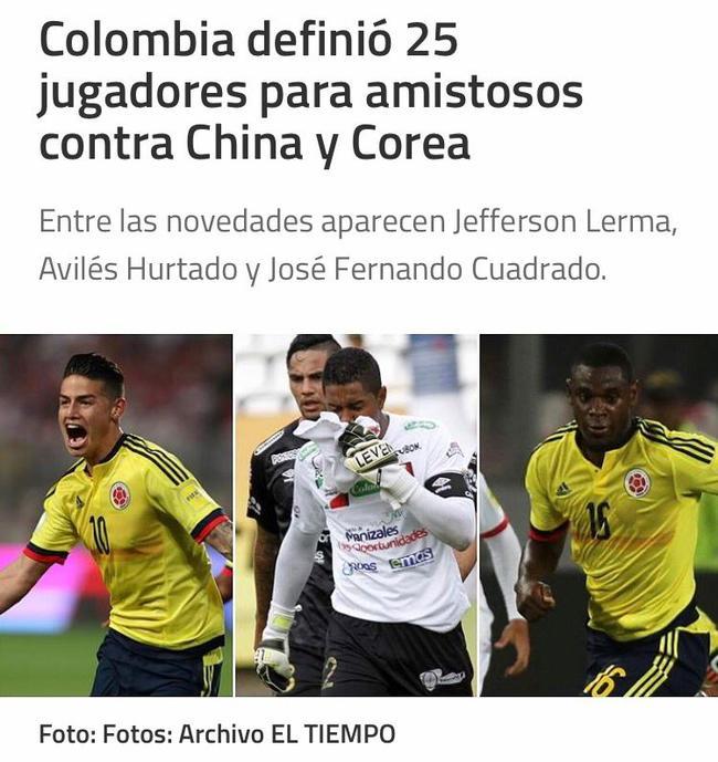 J罗领衔哥伦比亚战国足名单 法尔考落选莫雷诺入围