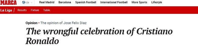 《马卡报》批评C罗的庆祝