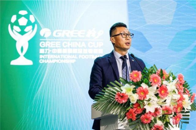中国足协竞赛部部长戚军在发布会上发言