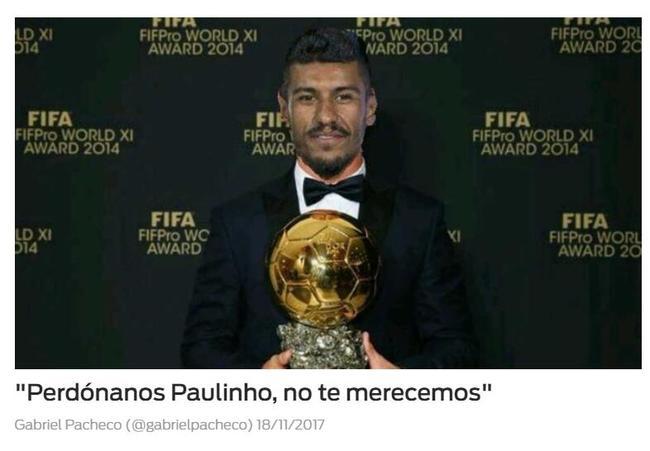 """《每日体育报》标题:""""保利尼奥,我们配不上你!"""""""