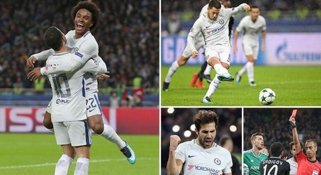 欧冠-阿扎尔传射威廉2球 切尔西4-0客胜提前出线