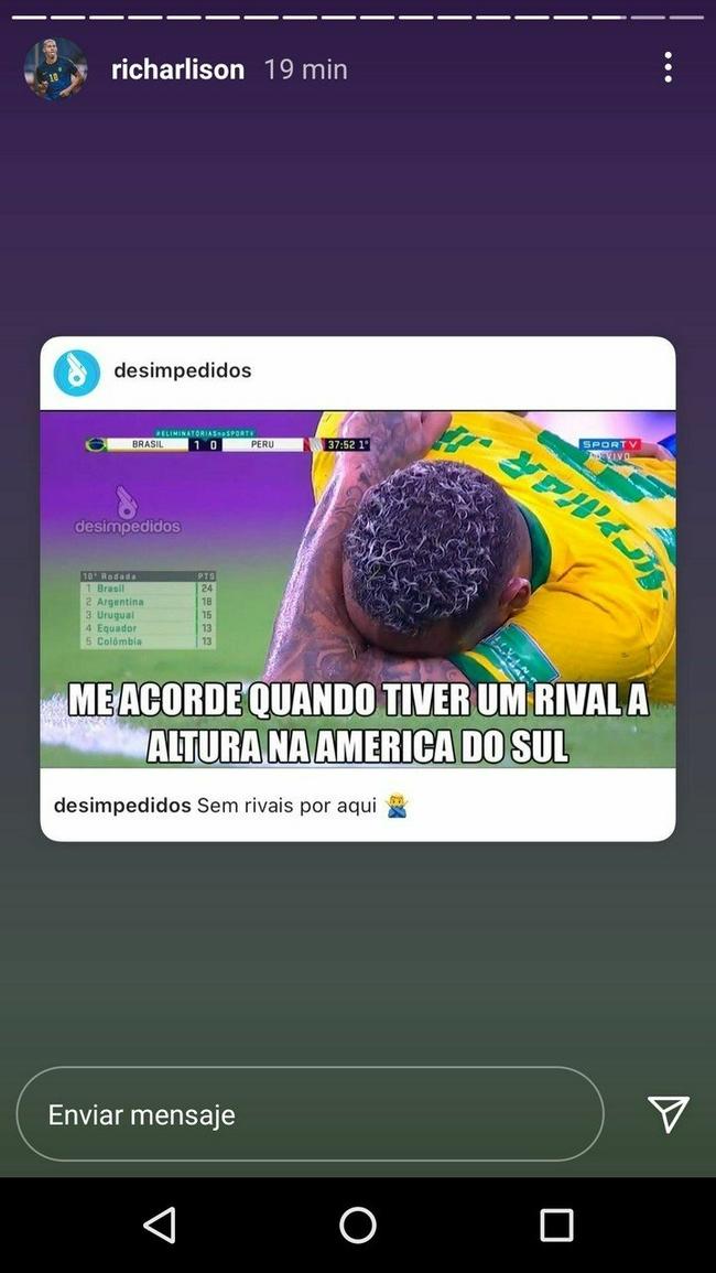 里查利森:巴西在南美摧枯拉朽   完全没对手啊