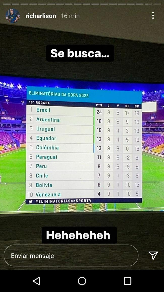 里查利森;巴西在南美摧枯拉朽   完全没对手啊