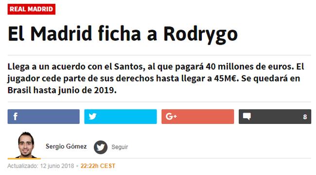 《阿斯报》:皇马已经敲定罗德里戈的转会