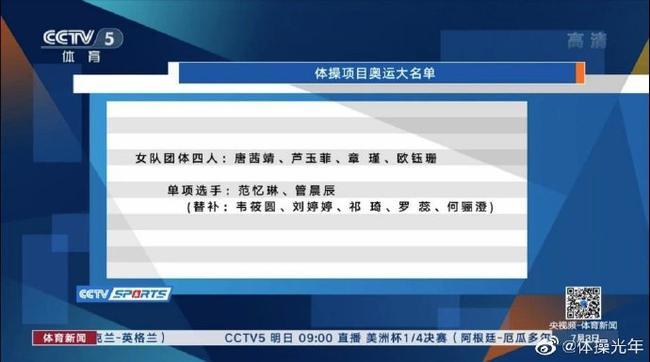 体操队公布奥运名单肖若腾领衔 张博恒刘婷婷替补