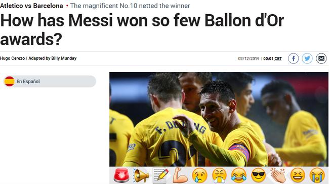 《马卡报》:为何梅西的金球这么少