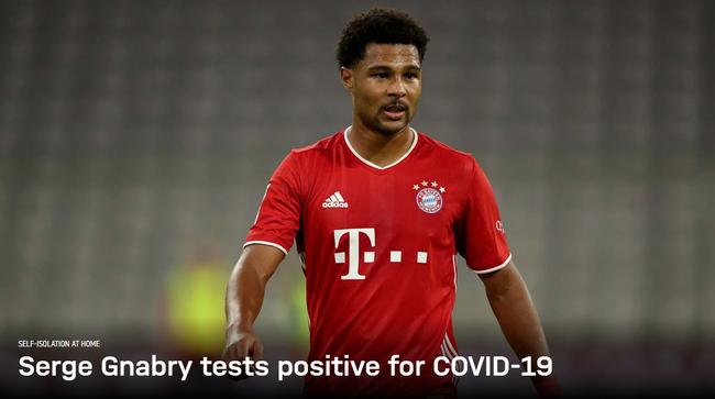 拜仁宣布格纳布里新冠检测阳性 周二还参加了训练