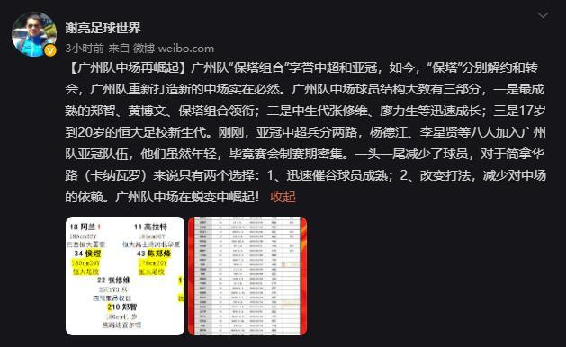 广东体媒人:广州队必然重塑中场 将在蜕变中崛起