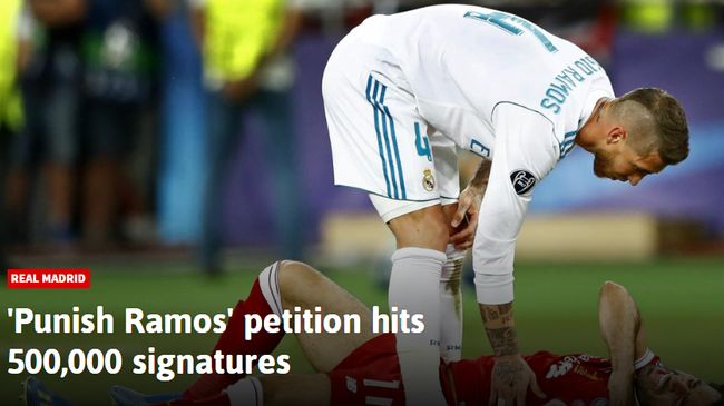 超过50万人请求处罚拉莫斯