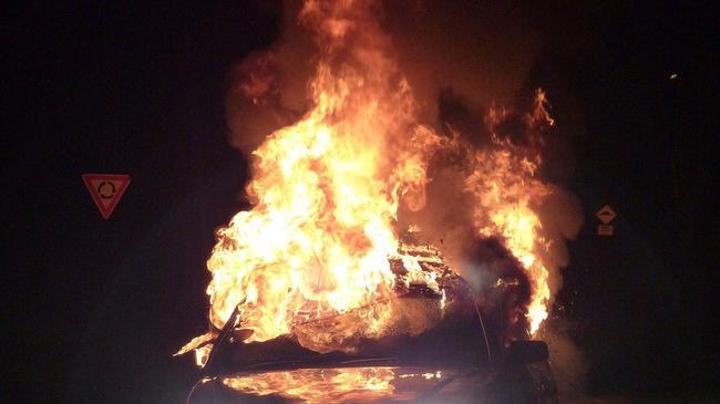 汽车被点燃