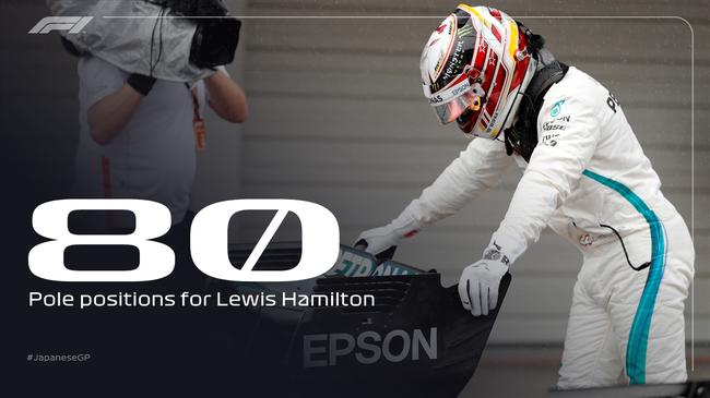 汉密尔顿在铃鹿赛道拿到做事生涯第80个杆位