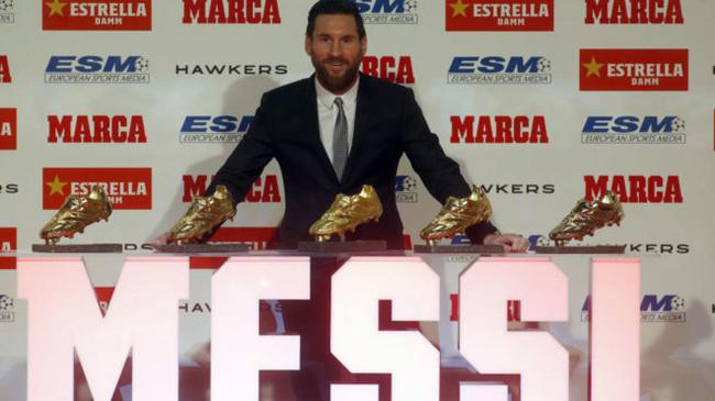 梅西收获第5座欧洲金靴