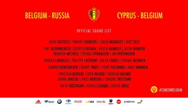 比利时男足大名单卡拉斯科入选 费莱尼已退国家队
