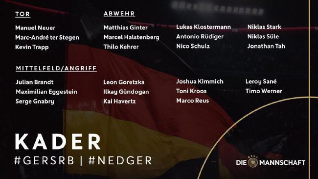 德国队公布新一期大名单