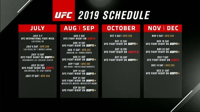 UFC官方颁布匹了下半年的完整顿赛程