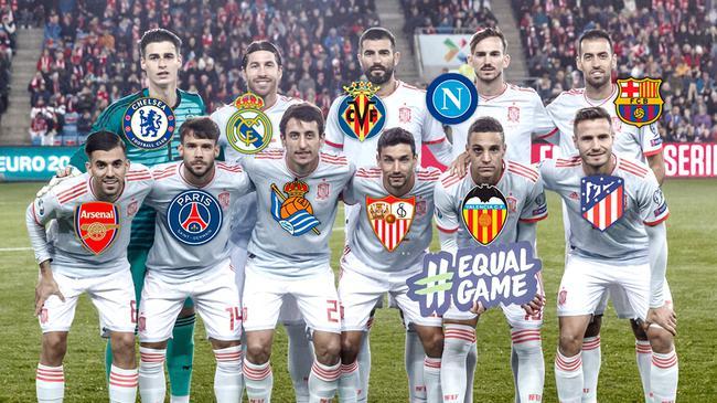 西班牙首发11人,异国俱乐部队友