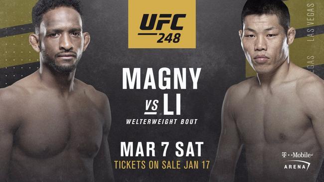 李景亮将在UFC248中对阵尼尔-马格尼