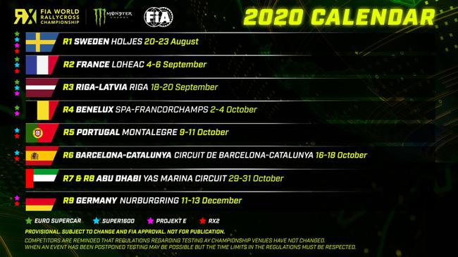 世界跨界拉力锦标赛(WRX)2020赛历(修订版)
