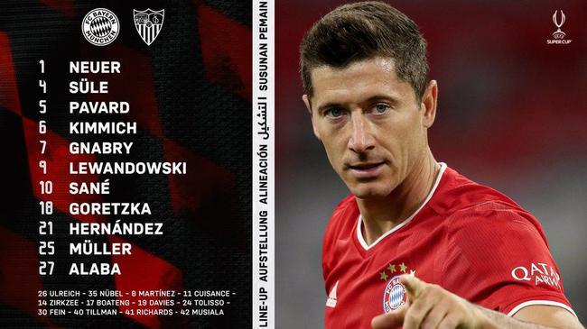 欧超杯拜仁vs塞维利亚首发:莱万穆勒萨内领衔