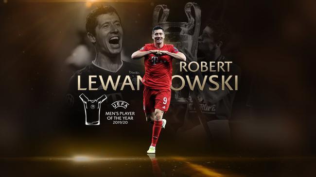 莱万力压诺伊尔和德布劳内 荣膺2020欧洲最佳球员