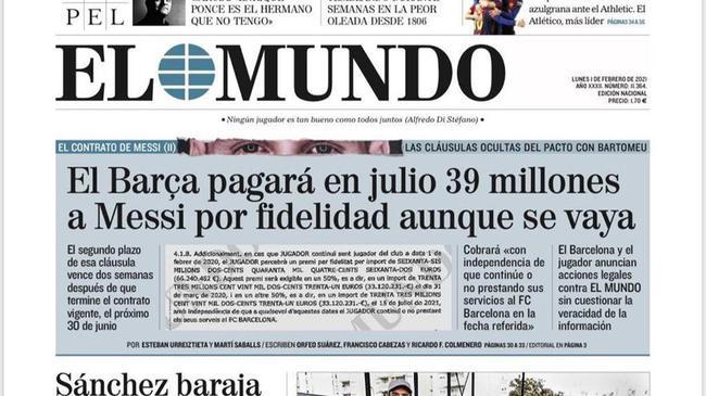 西媒披露梅西忠诚奖金6600万 今夏走人也能全拿