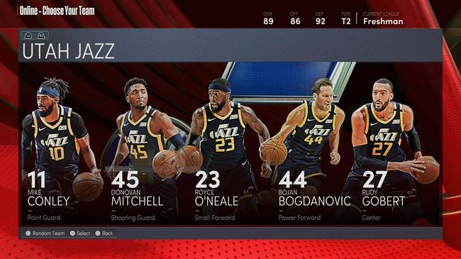 爵士全隊NBA2k22能力值:戈貝爾米切爾均為88