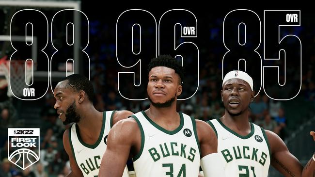 雄鹿全隊NBA2k22能力值:字母哥96 米德爾頓88