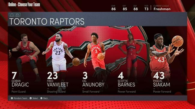 猛龍全隊NBA2k22能力值:范喬丹82 渡邊雄太74