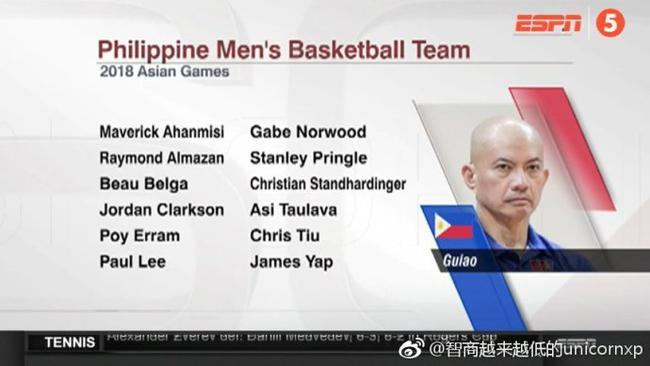 克拉克森入选菲律宾12人名单