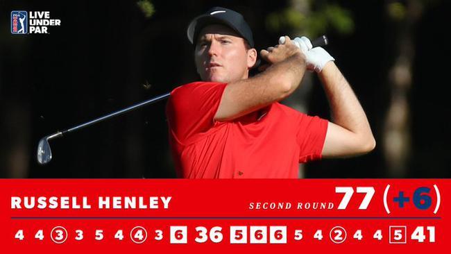 亨利在第二轮的记分卡,9-12号洞十足被罚8杆
