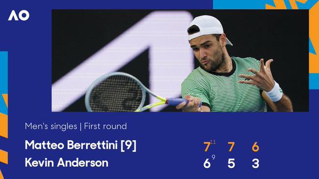 澳网贝雷蒂尼3-0横扫南非大炮 顺利晋级第二轮