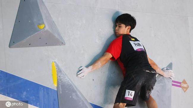 潘愚非攀岩男子全能资格赛遗憾无缘决赛