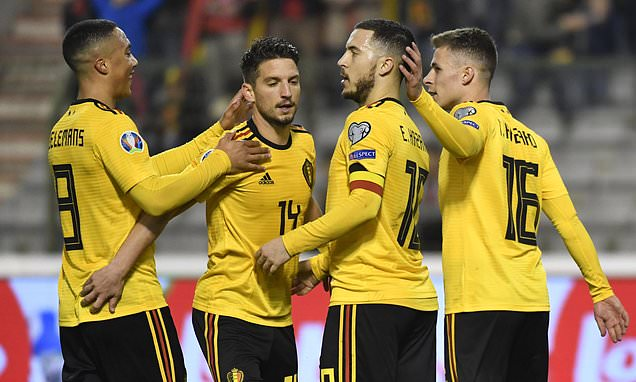 欧预赛-阿扎尔2球比利时3-1俄罗斯 克罗地亚2-1胜