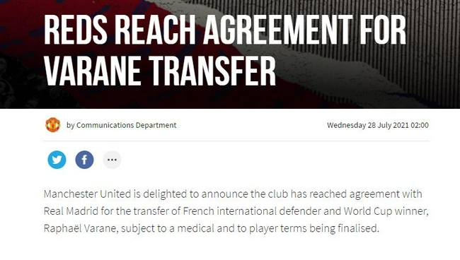 【博狗体育】官方!曼联宣布签瓦拉内达协议 转会费4200万英镑