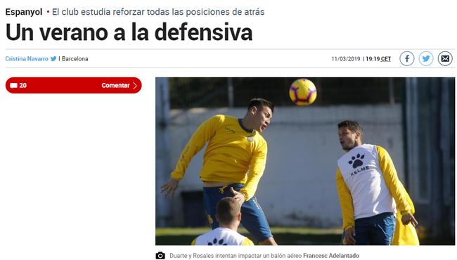 《马卡报》:西班牙人引援重点是后卫线