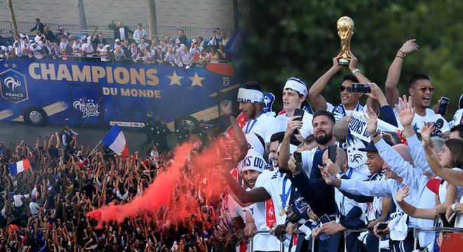 法国队举行夺冠游行 全民上街欢呼庆祝