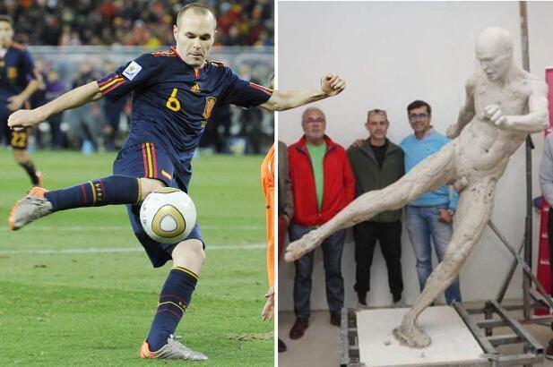 伊涅斯塔世界杯绝杀雕像初曝光为何是全裸的?