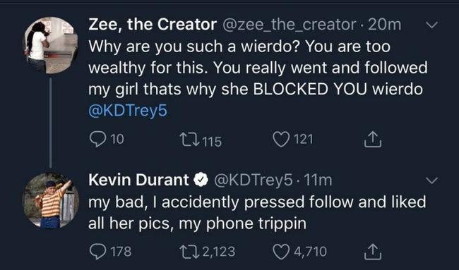 网友喷KD:你那么有钱还关注我女友?KD爆笑回应