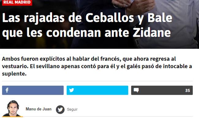 《阿斯报》:塞瓦略斯跟贝尔不舒服了