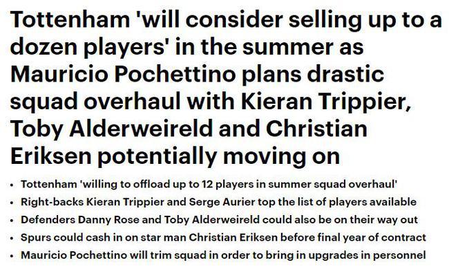 多达12名球员可供出售