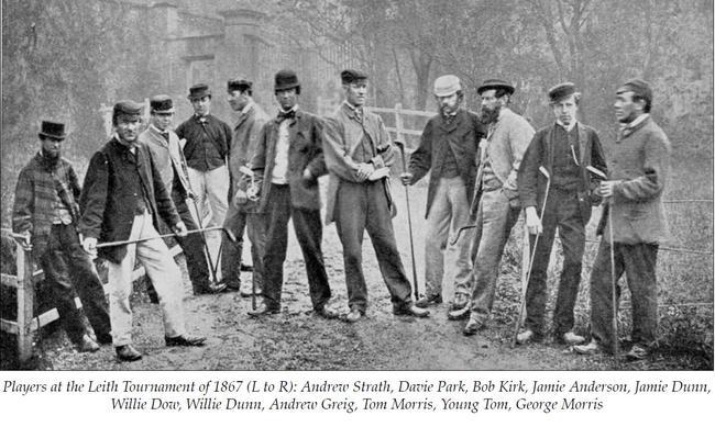 1867年参加利斯比赛的威利·邓恩(右5)和双胞胎弟弟杰米(左5)