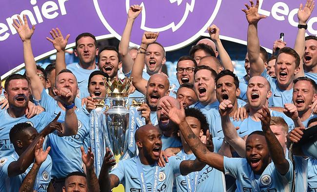 曼城以极强的统治力夺得英超冠军