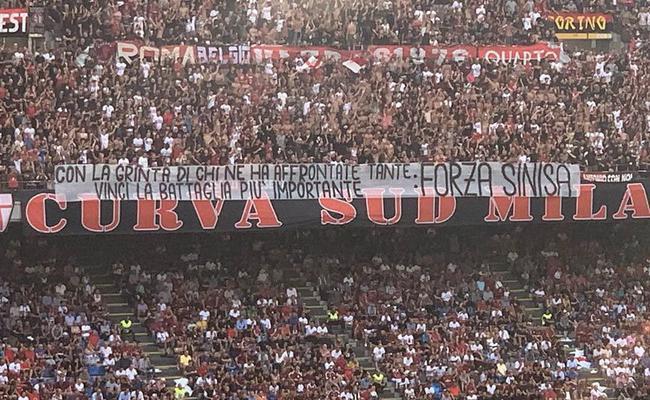 AC米兰球迷横幅给接受白血病化疗的米哈打气