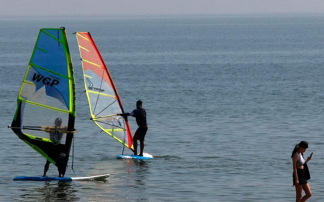 中国国家帆船帆板队在训练中。新京报记者 殷楠 摄