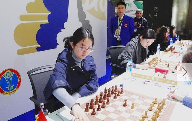 中国国象女队在比赛中