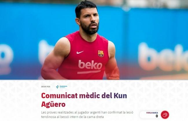 【博狗体育】官方!巴萨宣布阿圭罗肌腱受伤 预计缺阵10周