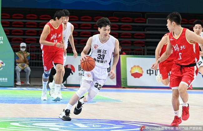 全运会男篮:余嘉豪21+18 浙江轻取湖北获铜牌